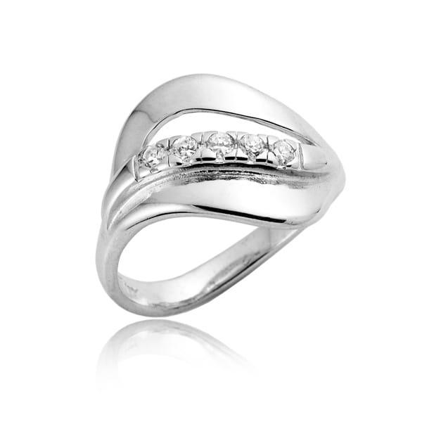 Nowoczesna architektura Srebrny pierścionek zaręczynowy Swarovski - sklep online Angel Srebro WA25